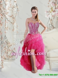 Elegant High Low Sweetheart Beaded and Ruffles Prom Dresses in Hot Pink