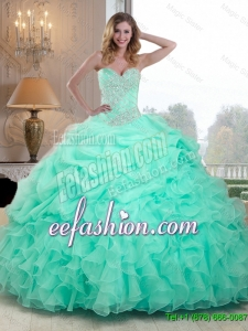 Pretty Beaded and Ruffles 2016 Quinceanera Dresses in Apple Green