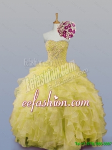 2015 Winter New Style Sweetheart Dress for Quince with Beading and Ruffles