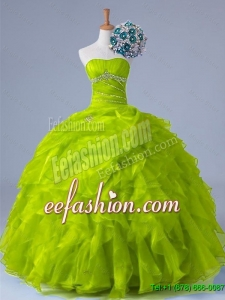 2015 Winter Perfect Strapless Quinceanera Dresses with Beading and Ruffles