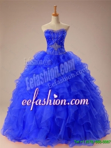 2016 Summer Beautiful Beaded and Ruffles Quinceanera Dresses in Organza