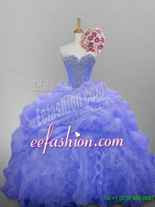 Luxurious 2015 Winter Sweetheart Quinceanera Dresses with Beading and Ruffled Layers