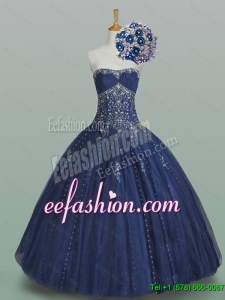 2015 Fall Elegant Ball Gown Strapless Beaded Quinceanera Dresses in Navy Blue