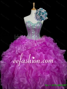 2015 Fall Perfect Ball Gown Fuchsia Quinceanera Dresses with Sequins and Ruffles