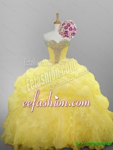2015 Fall Pretty Sweetheart Beaded Quinceanera Dresses with Ruffled Layers