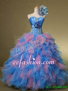 2015 Perfect Beautiful Strapless Quinceanera Dresses with Hand Made Flowers and Beading