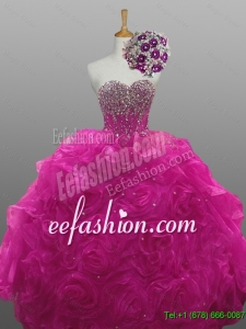 2015 Summer Elegant Sweetheart Beaded Quinceanera Dresses with Rolling Flowers