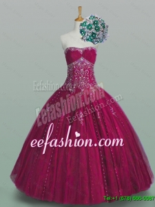 2015 Winter New Style Strapless Beaded Quinceanera Gowns in Tulle