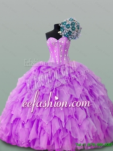 2015 Winter New Style Sweetheart Beaded Quinceanera Gowns in Organza
