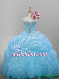 2015 Winter New Style Sweetheart Quinceanera Dresses with Beading and Ruffled Layers
