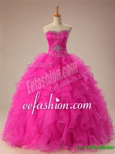 2016 Summer Beautiful Sweetheart Ball Gown Sweet 16 Dresses in Hot Pink