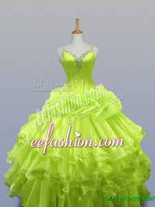 Luxurious Straps Quinceanera Dresses with Ruffled Layers for 2015