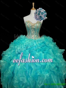 New Arrival 2015 Fall Sweetheart Mint Quinceanera Dresses with Sequins and Ruffles