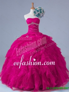 Pretty 2016 Summer Strapless Beaded Quinceanera Gowns in Fuchsia