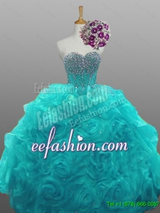 Pretty 2016 Summer Sweetheart Beaded Quinceanera Dresses with Rolling Flowers