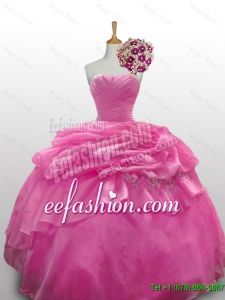 Pretty 2016 Summer Sweetheart Rose Pink Quinceanera Dresses with Paillette