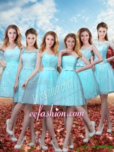 2016 Summer Beautiful A Line Bridesmaid Dresses with Belt in Aqua Blue