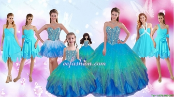 Perfect Beaded Multi Color Quinceanera Dresses and Aqua Blue Dama Dresses and Cute Straps Little Girl Dresses and Sexy S