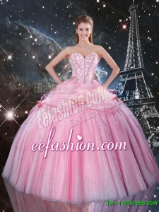 2016 Feminine Rose Pink Sweet 16 Dresses with Beading and Bowknot