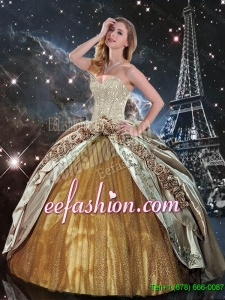 Elegant Hand Made Flowers Multi Color Quinceanera Dresses with Brush Train