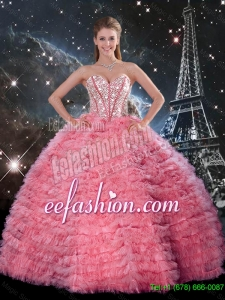 Latest Ball Gown Beaded Rose Pink Quinceanera Dresses with Ruffles