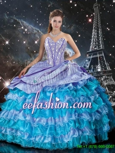 Wonderful Multi Color Sweet 16 Dresses with Ruffled Layers and Beading