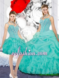 2016 Popular Straps Ball Gown Detachable Quinceanera Dresses in Turquoise