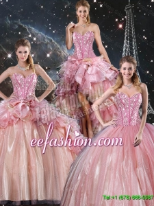 Beautiful Ball Gown Beaded Tulle Detachable Sweet 16 Dresses with Belt