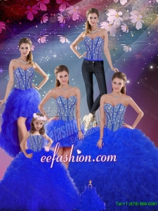 Detachable Beaded and Ruffles Sweetheart Wonderful Sweet 16 Dresses in Royal Blue