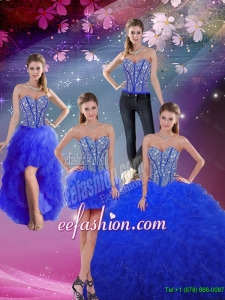Dynamic Sweetheart Beaded and Ruffles Royal Blue Detachable Quinceanera Dresses