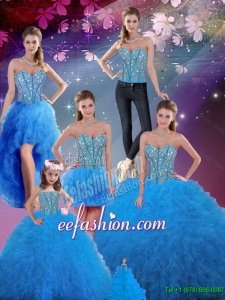 Flirting Sweetheart Beaded and Ruffles Detachable Sweet 16 Dresses in Baby Blue