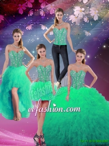 Formal Sweetheart Beaded and Ruffles Detachable Quinceanera Dresses in Turquoise