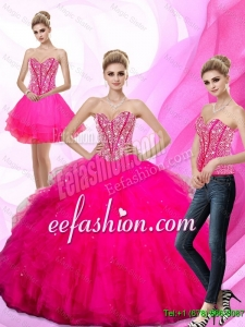 Gorgeous 2016 Beading and Ruffles Sweetheart Quinceanera Dresses