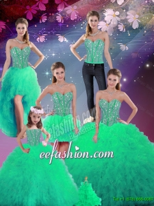 Gorgeous Sweetheart Beaded and Ruffles Detachable Sweet 16 Dresses in Turquoise