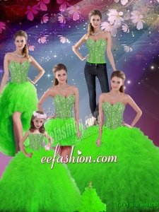 Luxurious Beaded Sweetheart Detachable Sweet 16 Dresses with Floor Length