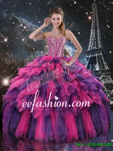 Luxurious Beaded and Sweetheart Quinceanera Dresses in Multi Color