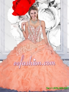 Perfect Orange Ball Gown Straps Quinceanera Dresses with Beading