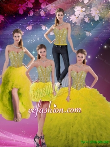 Sweetheart Beaded and Ruffles Detachable Dresses For Sweet 16 in Yellow