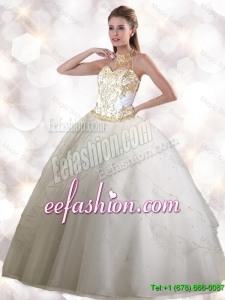 2016 Feminine Halter Top White Quinceanera Gowns with Appliques