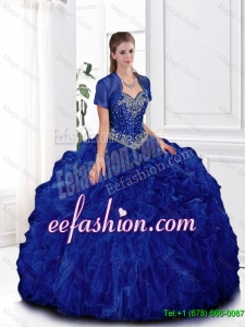 Elegant Beaded and Ruffles Quinceanera Gowns in Royal Blue for 2016