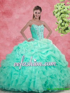 Luxurious 2016 Apple Green Quinceanera Gowns with Beading and Ruffles