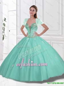 New Style 2016 Sweetheart Beaded Quinceanera Gowns in Apple Green
