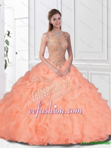 Perfect Beaded and Ruffles Watermelon 2016 Quinceanera Gowns with Bateau