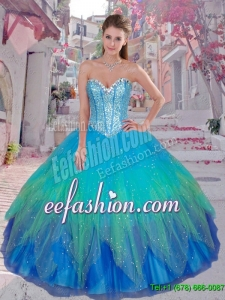 Pretty Sweetheart Sequined Quinceanera Gowns in Multi Color for 2016