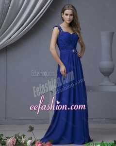 2016 Pretty Straps Beading Long Prom Dresses in Royal Blue