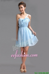 Beautiful One Shoulder Ruching Short Prom Gowns for Holiday