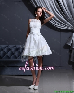 Beautiful White A Line Prom Gowns with Lace and Bowknot