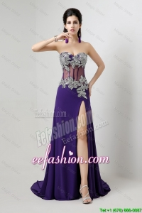 Cheap Brush Train Prom Dresses with Beading and High Slit