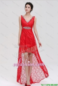 Cheap V Neck Laced and Beaded Red Prom Dresses with High Low