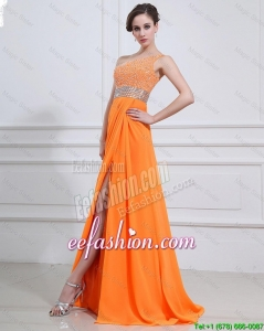 Classical Beading and High Slit Orange Prom Dresses with Brush Train